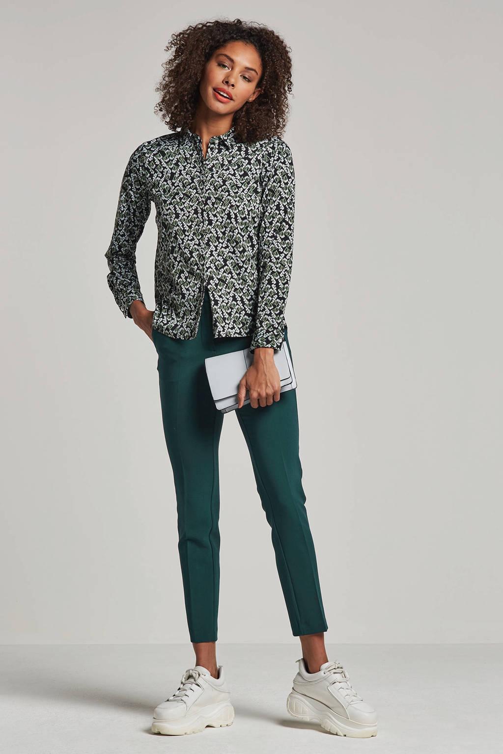 NUMPH blouse Jellypalm met bloemenprint, Zwart/wit