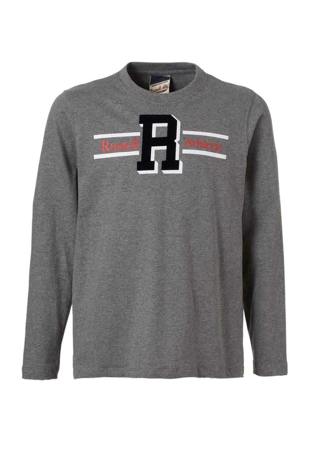 Russell Athletic longsleeve grijs melange, Grijs melange/wit/rood