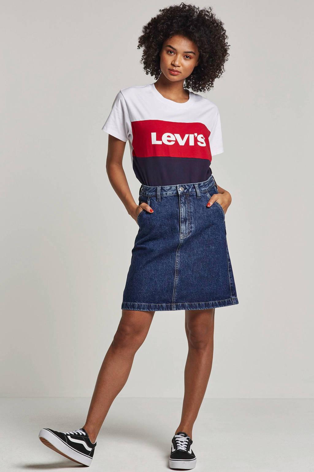 Levi's T-shirt met logo opdruk, Wit/blauw/rood