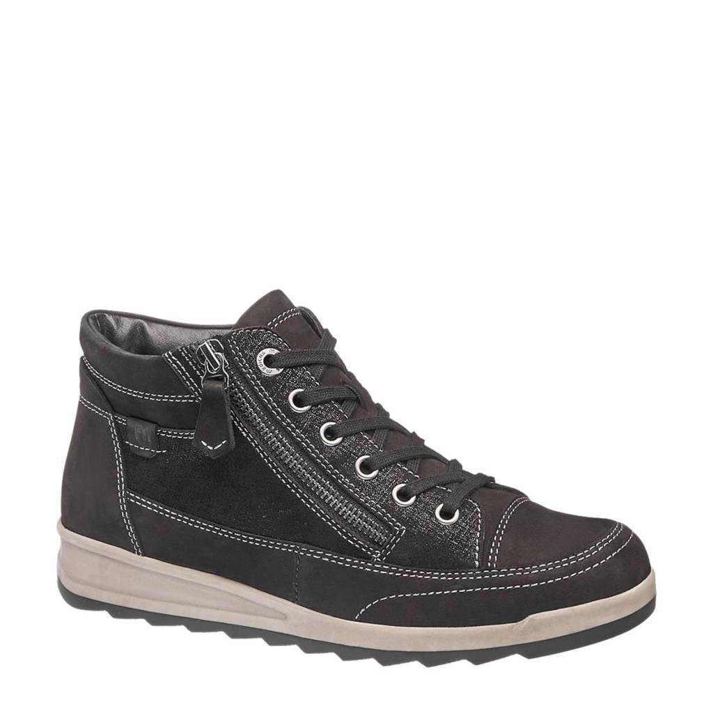 vanHaren Medicus  nubuck leren sneakers zwart, Zwart