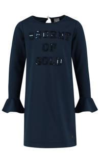 Baker Bridge jurk met tekst en pailletten donkerblauw, Donkerblauw