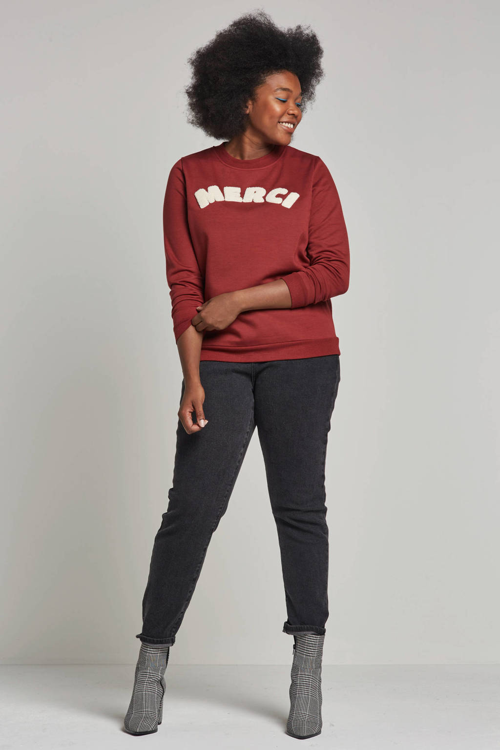 whkmp's great looks sweater met tekst, Donkerrood