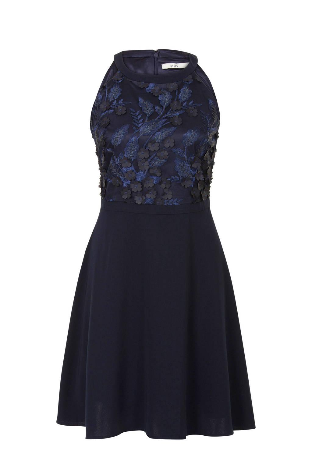 Uitzonderlijk Steps jurk met kant donkerblauw | wehkamp &XC78