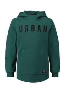 hoodie met tekstopdruk midden groen