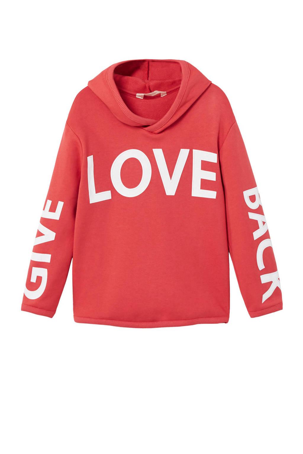 Mango Kids sweater met tekst rood, Rood