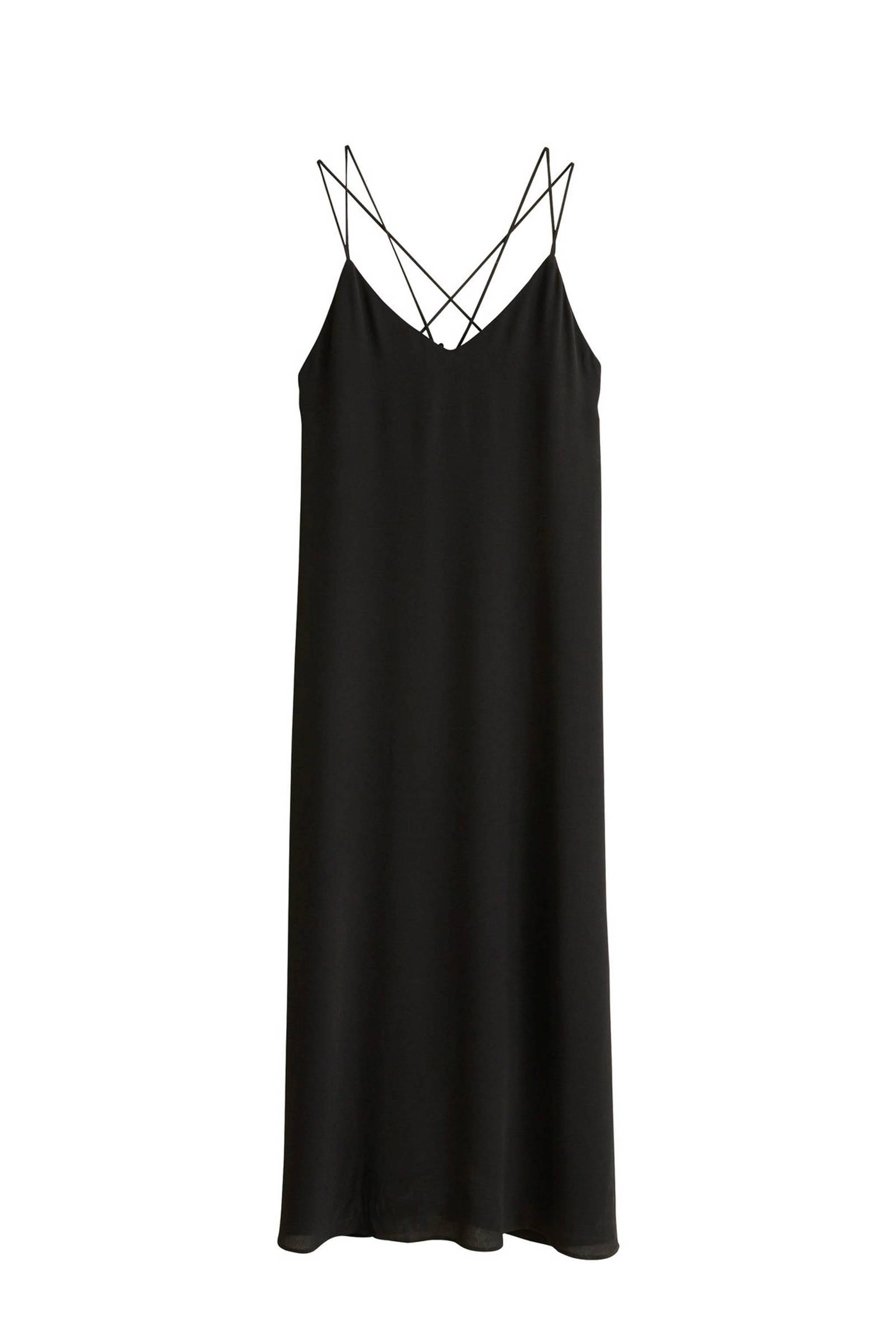 e240ac7bbba0d3 Mango jurk met dubbele spaghettibandjes zwart