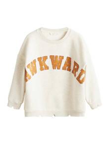 sweater met tekstopdruk lichtbeige