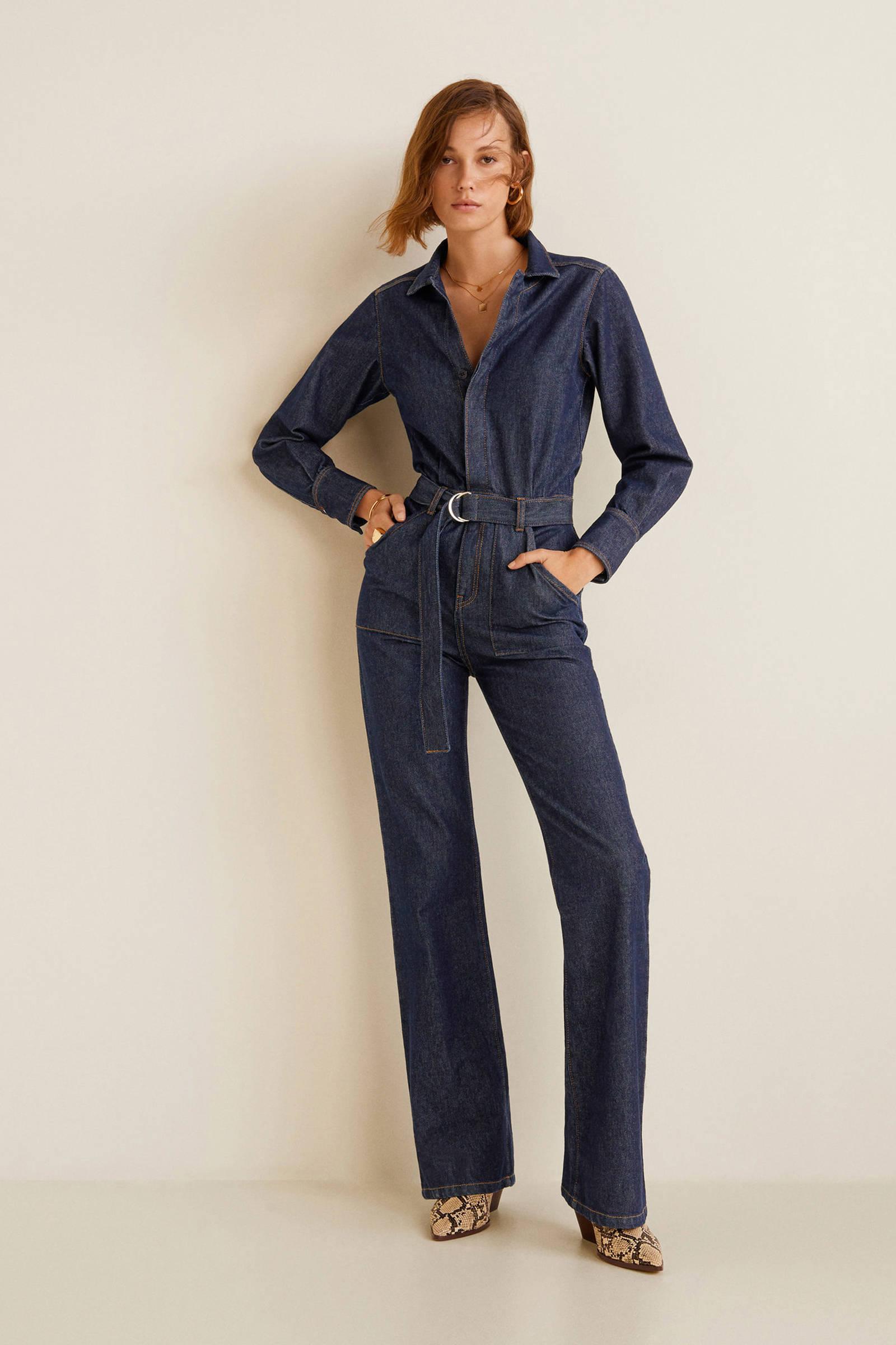 Verwonderlijk Mango denim jumpsuit donkerblauw | wehkamp CT-79