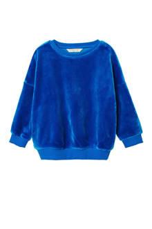 sweater imitatiebont blauw