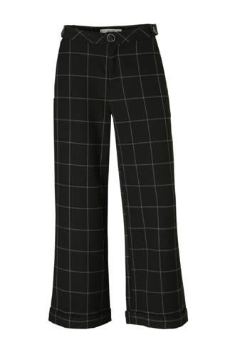 flared fit high waist pantalon met ruitdessin zwart