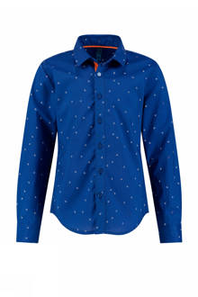 regular fit overhemd Botan met all-over print blauw