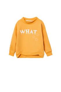 Mango Kids meisjes sweater met tekst geel (meisjes)