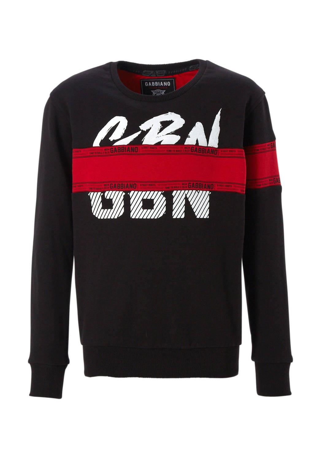 GABBIANO sweater met printopdruk zwart, Zwart/rood/wit