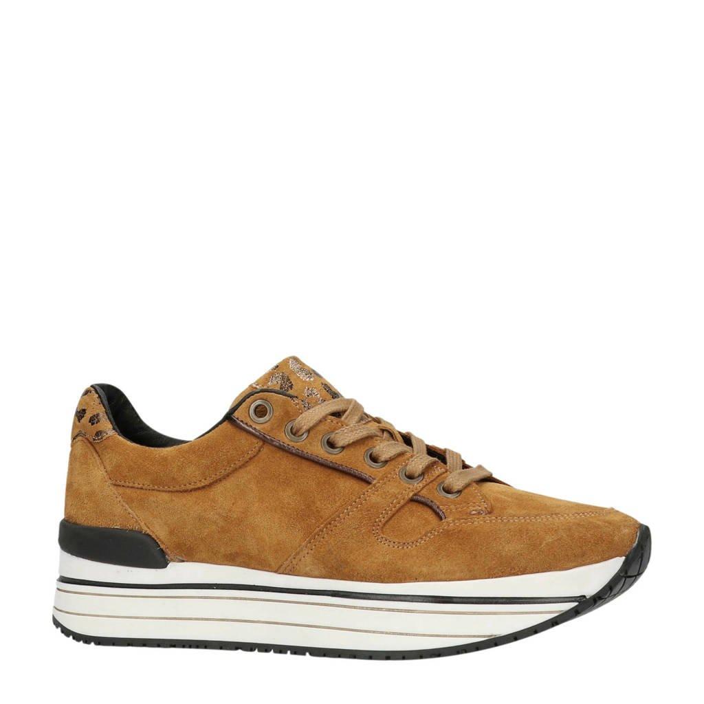 Manfield  suède sneakers, Okergeel