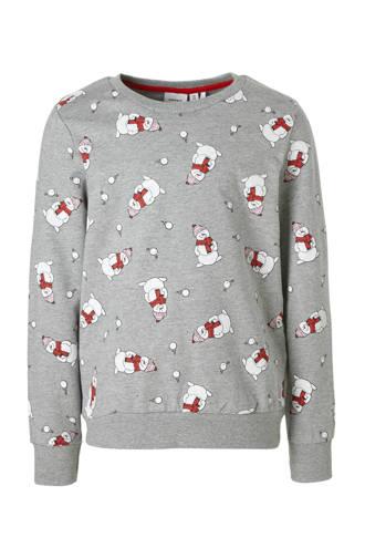 KIDS sweater met sneeuwpoppen grijs melange