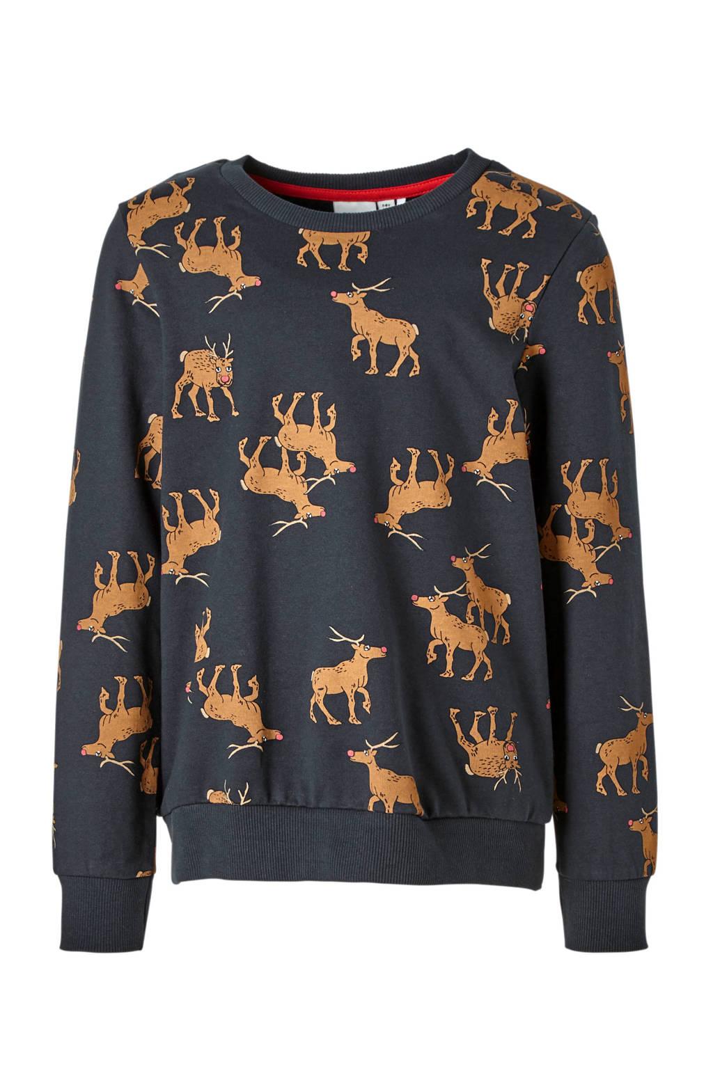 name it KIDS sweater met rendieren donkerblauw, Donkerblauw