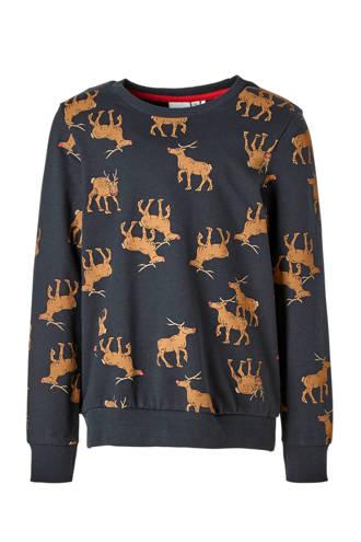 KIDS sweater met rendieren donkerblauw
