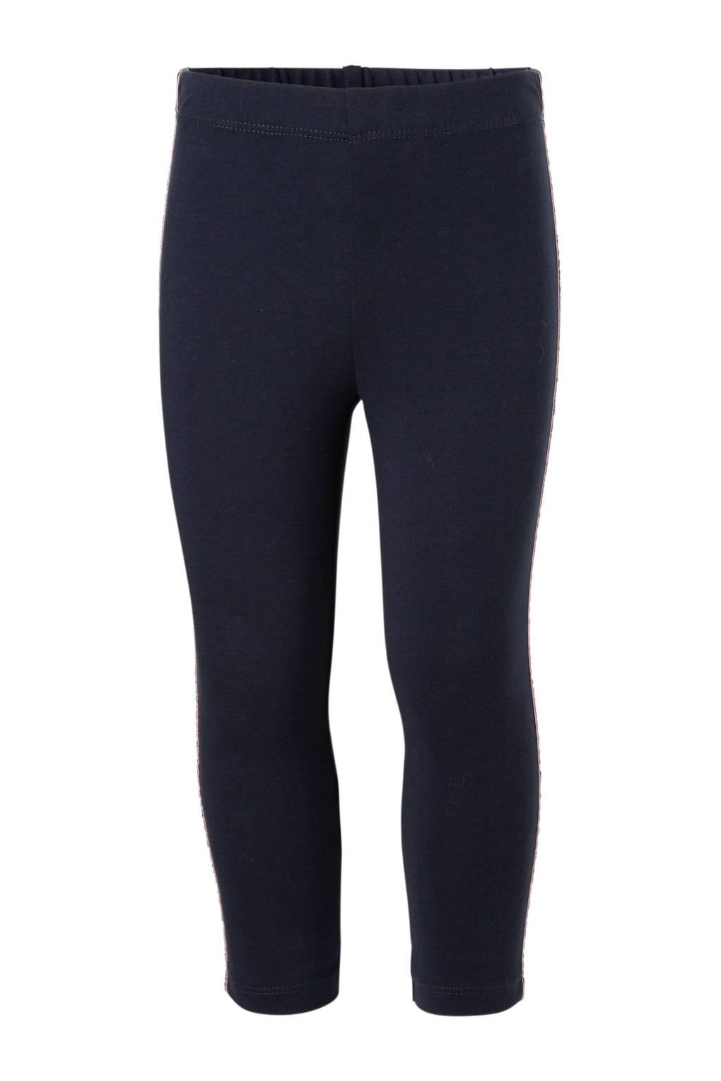 name it MINI legging met zijbies Stri donkerblauw, Donkerblauw/roze