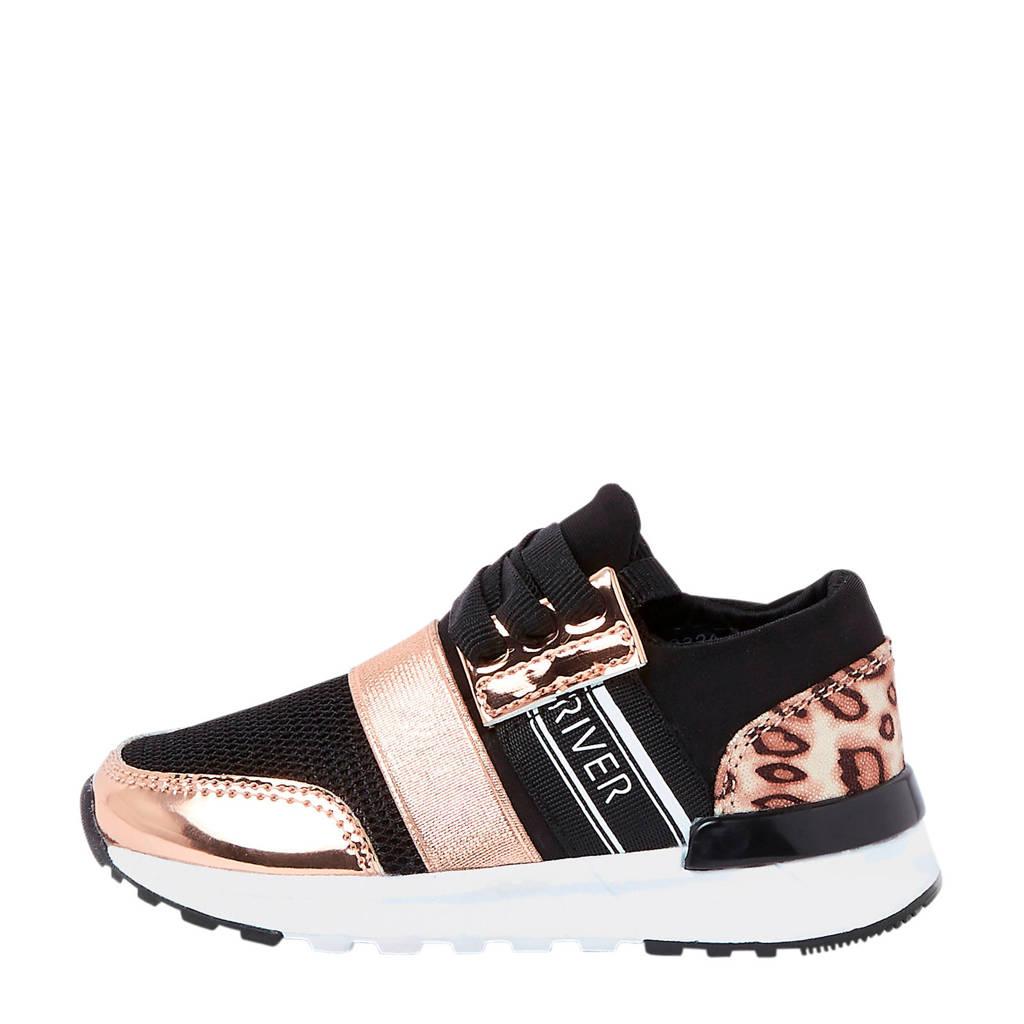 River Island sneakers met panterprint kids, Zwart/rosé