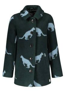 jas met wol en luipaardprint donkergroen