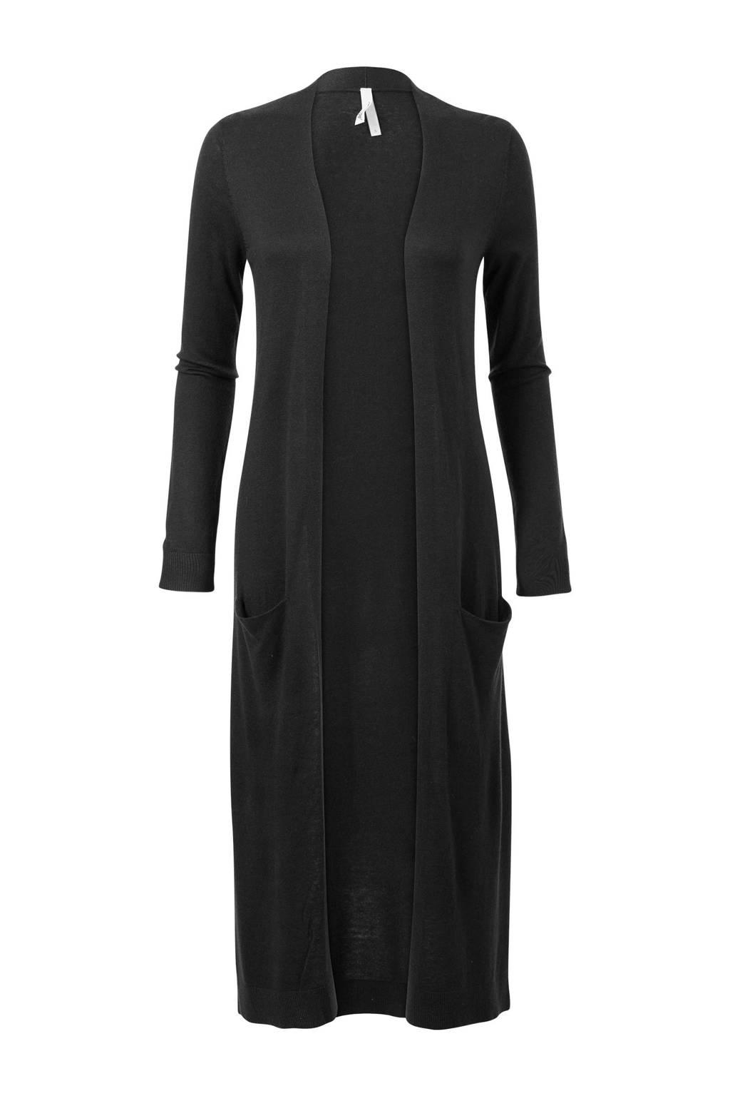 Miss Etam Regulier lang vest met cashmere zwart, Zwart