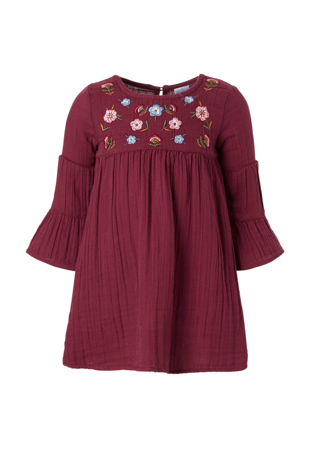 C&A Palomino jurk met bloemenborduursels rood, Donkerrood