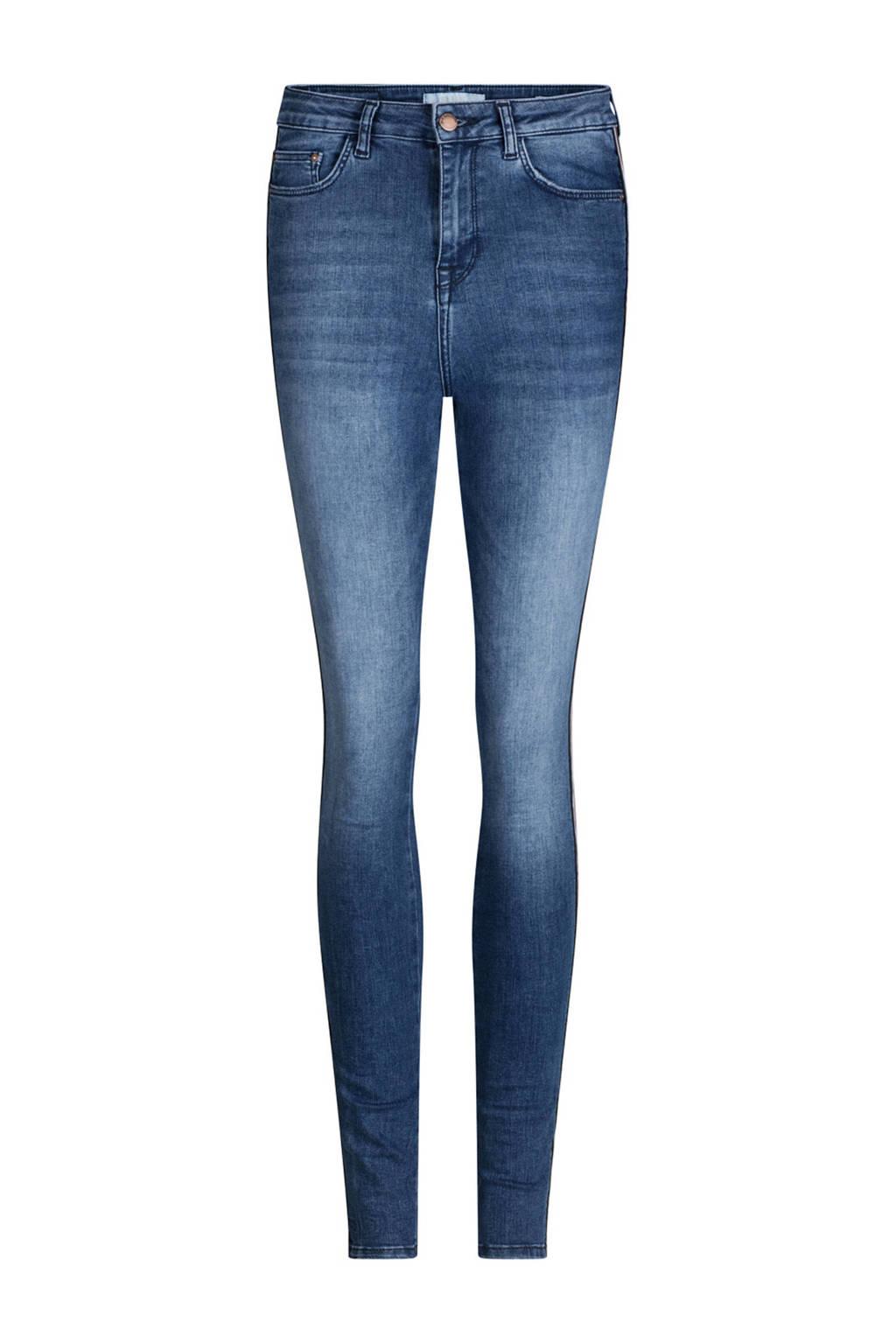 WE Fashion Blue Ridge high waist skinny jeans met zijstreep, Stonewashed