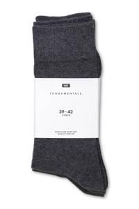 WE Fashion Fundamental sokken - set van 3, Grijs melange