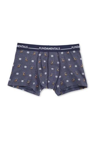 boxershort met print donkerblauw