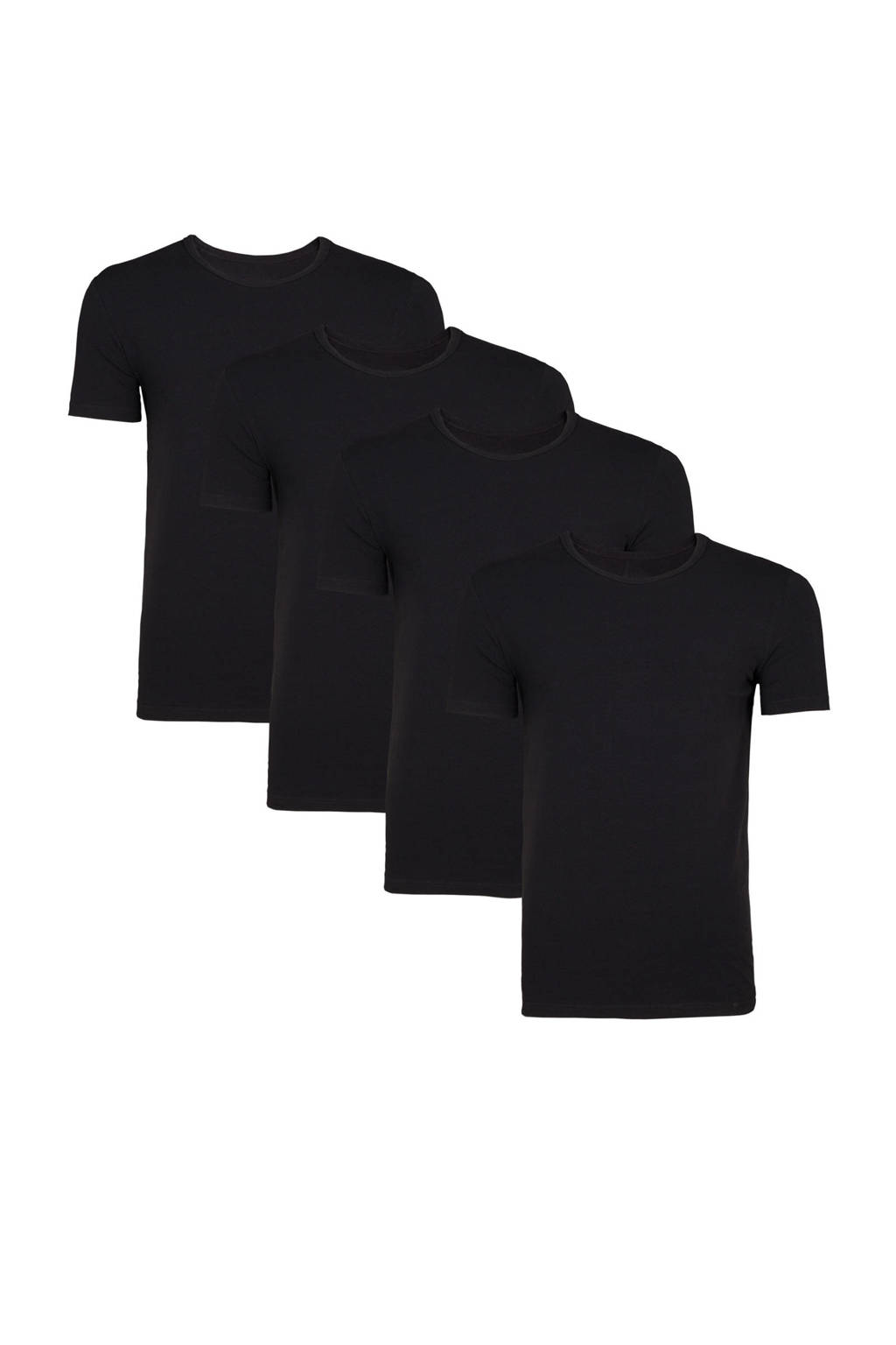 WE Fashion Fundamentals T-shirt zwart (set van 4), Zwart