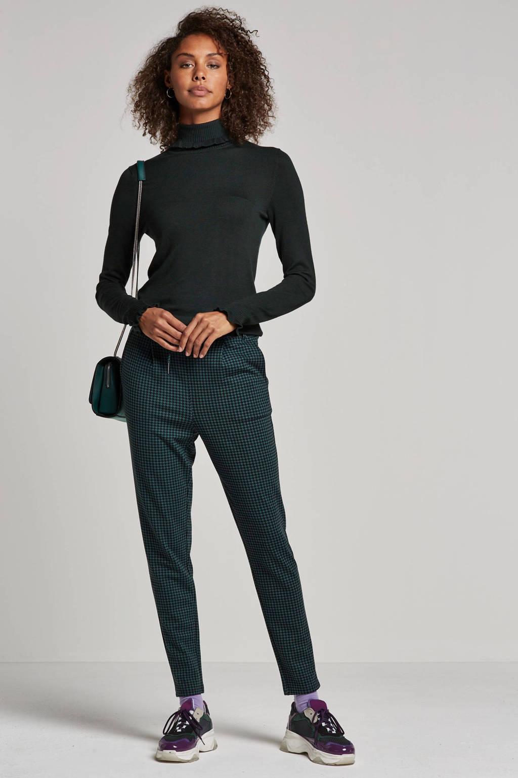 NOISY MAY broek met pied de poule dessin, Groen/zwart