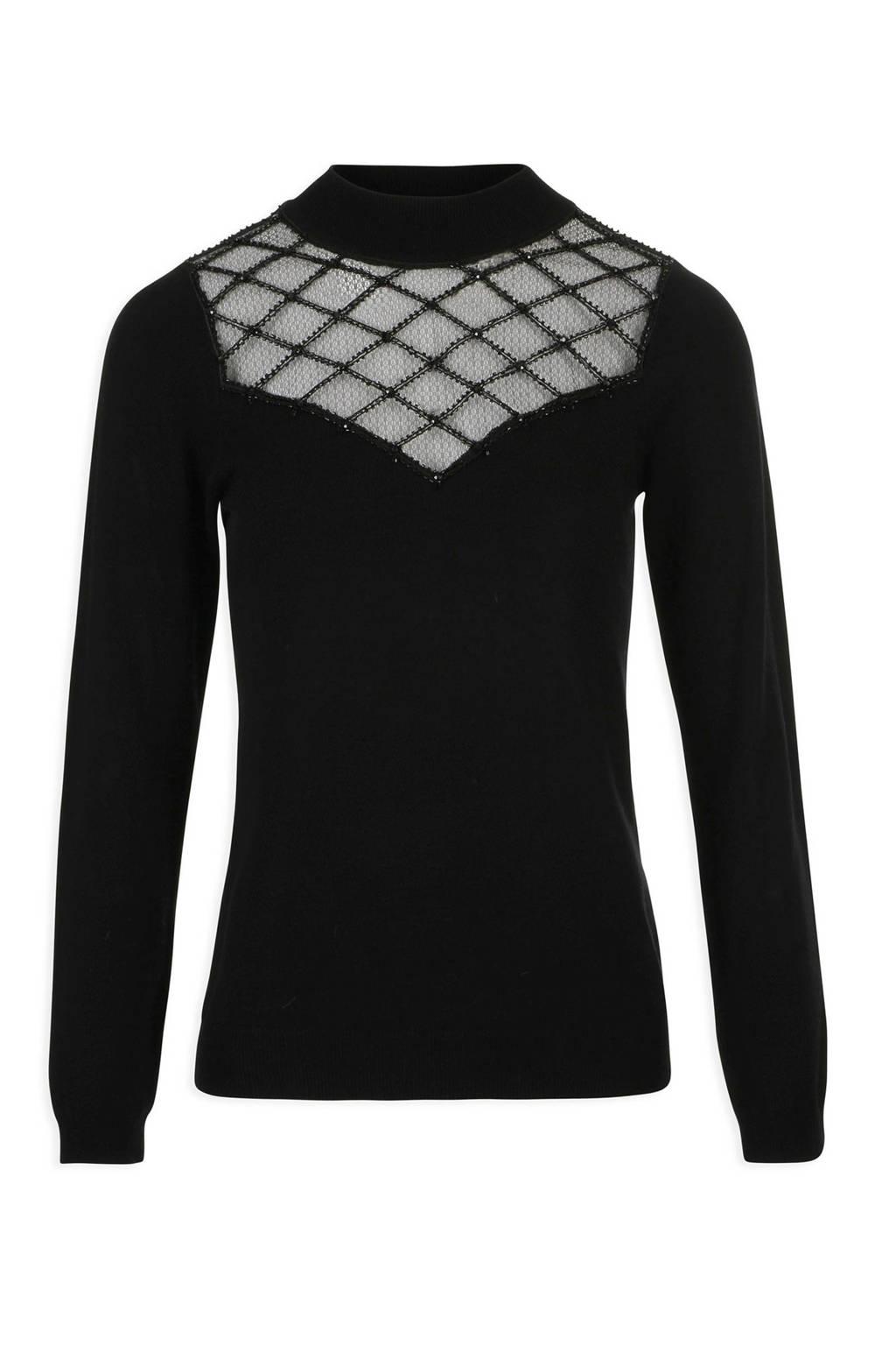 Morgan top met mesh zwart, Zwart