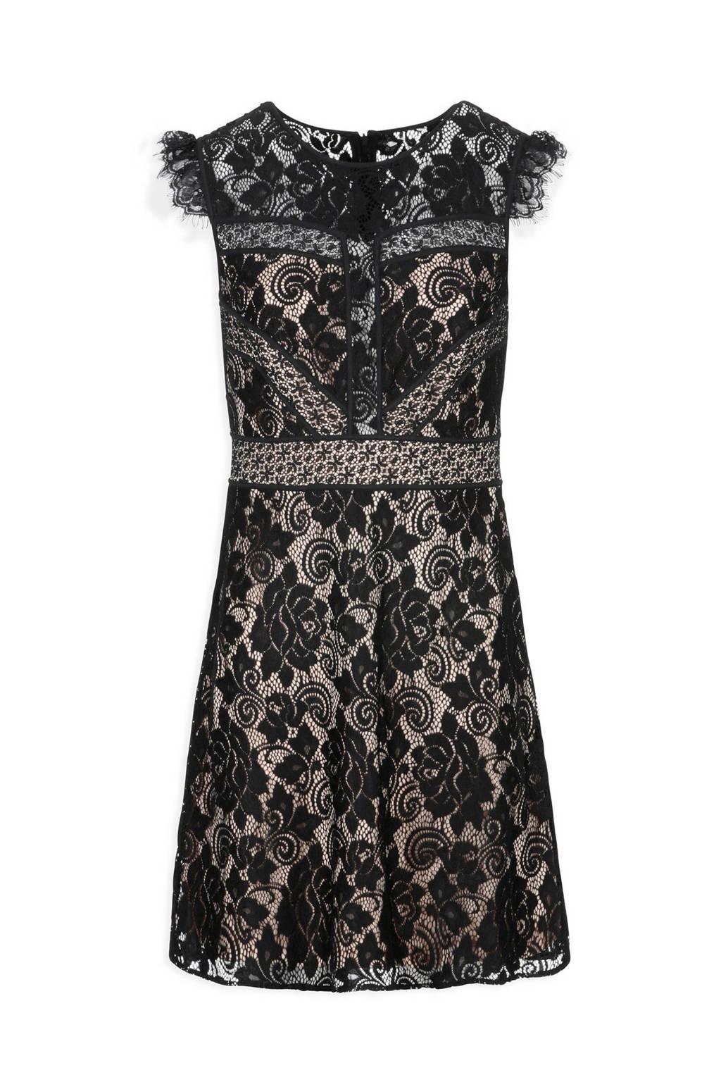 Morgan A-lijn jurk met kant zwart, Zwart