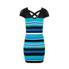fijngebreide jurk met strepen turquoise