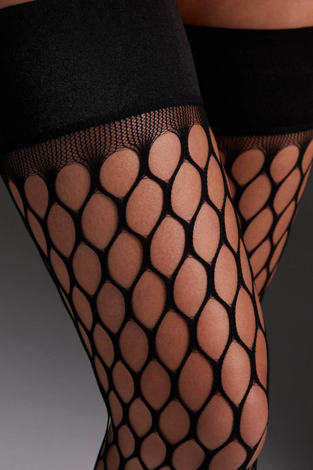 Hunkemöller Private hold up panty Fishnet zwart, Zwart