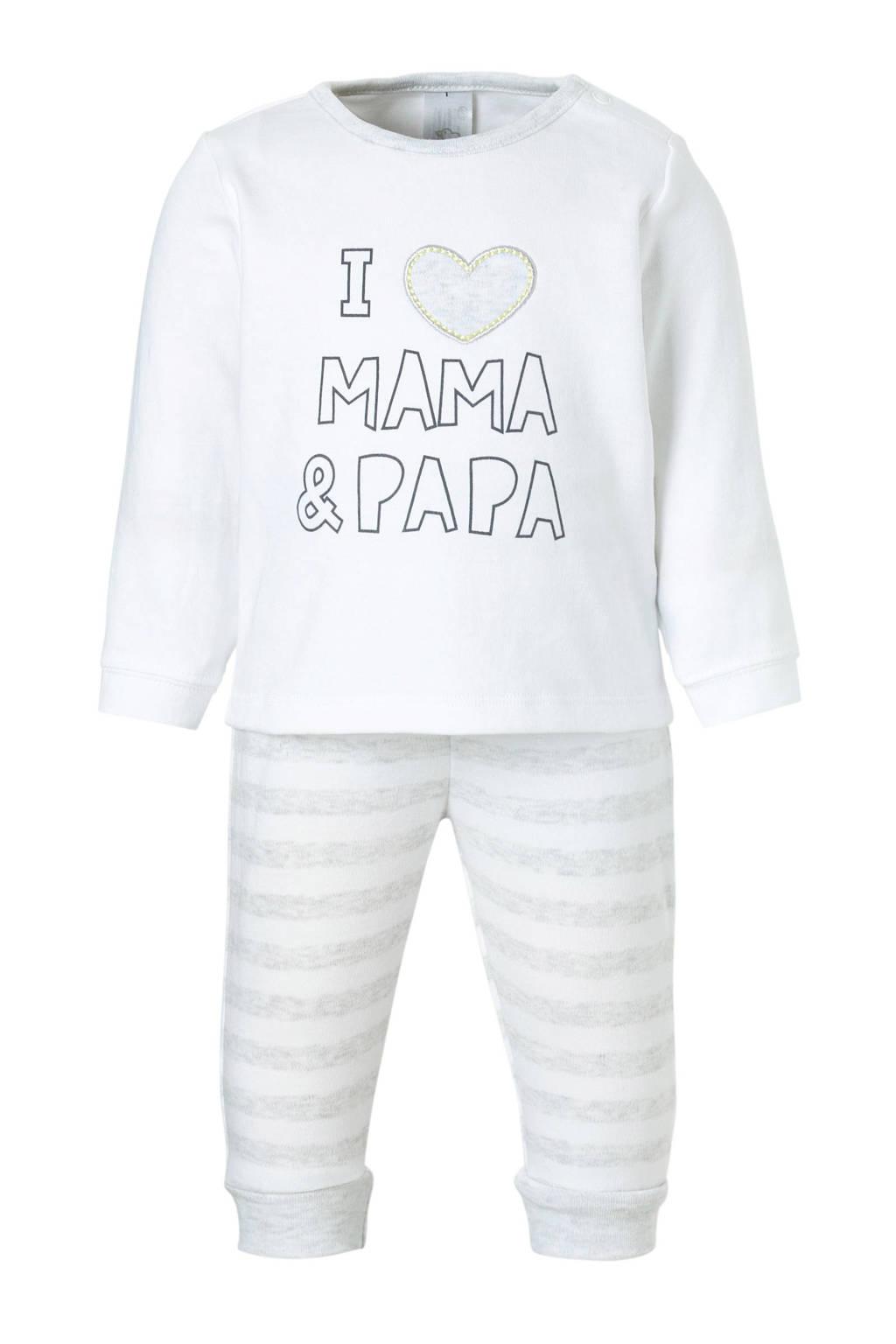 C&A Baby Club   pyjama met tekstopdruk, Wit/grijs