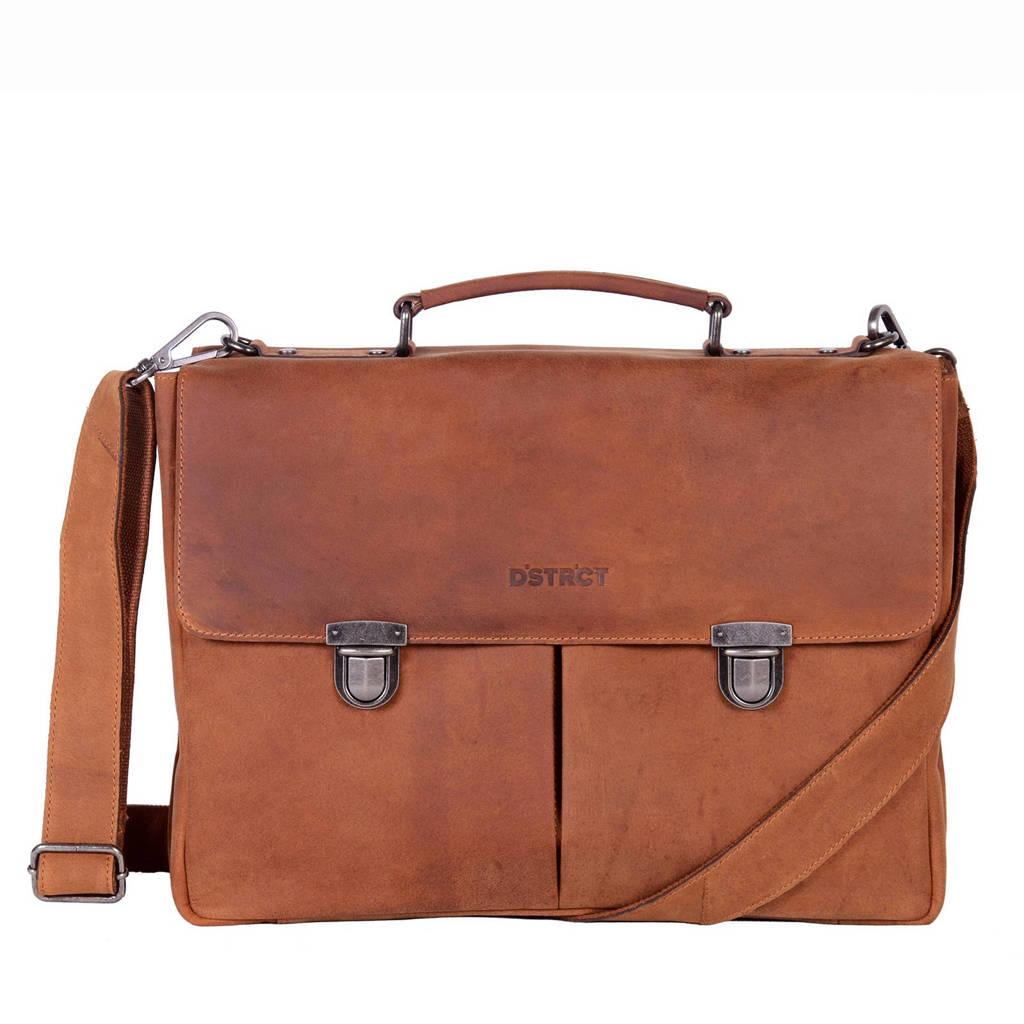 DSTRCT 15,4 inch Wall Street A4 Business leren laptoptas, Cognac