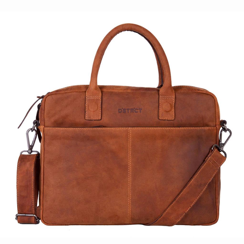 DSTRCT Wall Street 15,4 inch leren laptoptas, Cognac