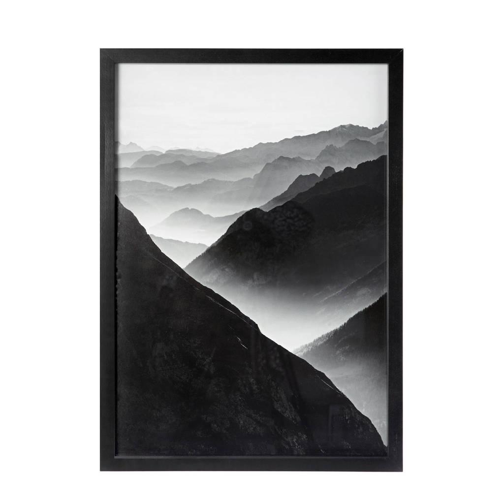 Riverdale schilderij Mountains (70x50 cm), Zwart/wit