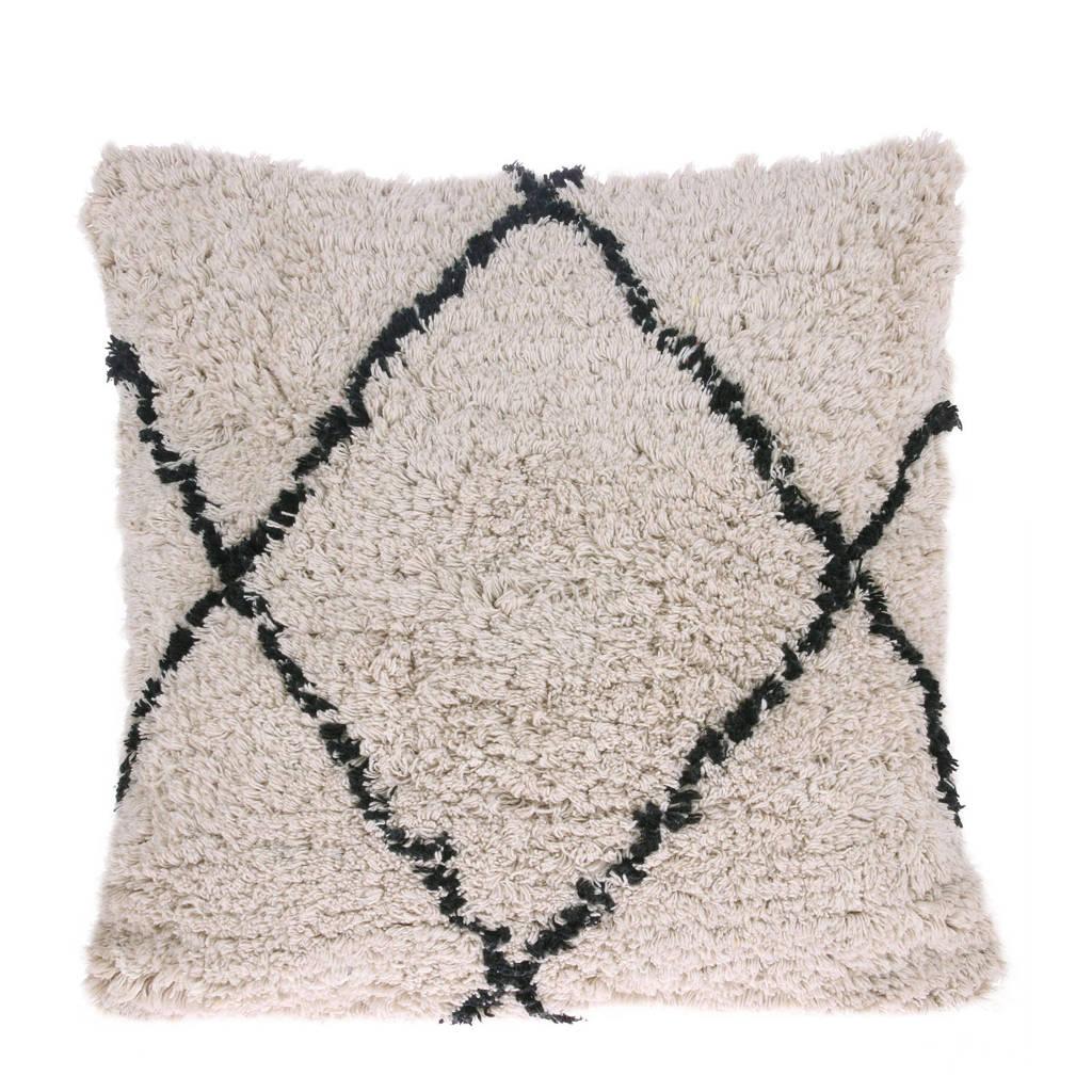 HKliving sierkussen  (50x50 cm), Wit, naturel, zwart