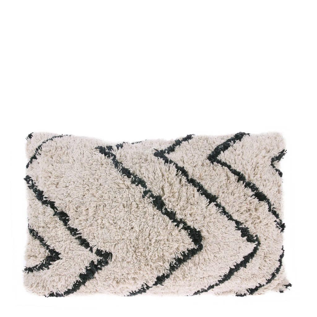 HKliving sierkussen  (40x60 cm), Wit/naturel/zwart