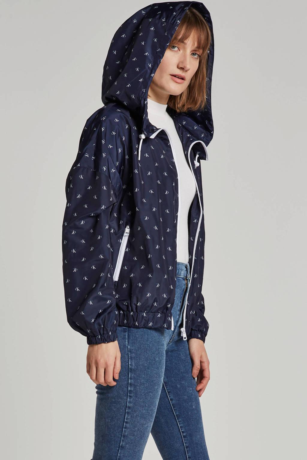 Calvin Klein Jeans jas met logo opdruk, Donkerblauw
