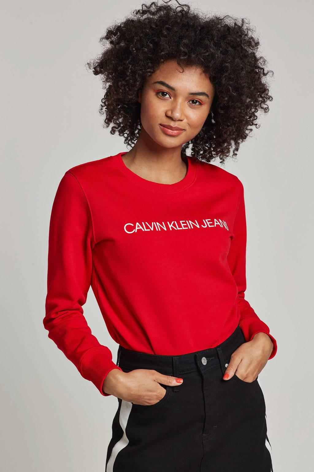 Calvin Klein Jeans sweater met logo opdruk, Rood