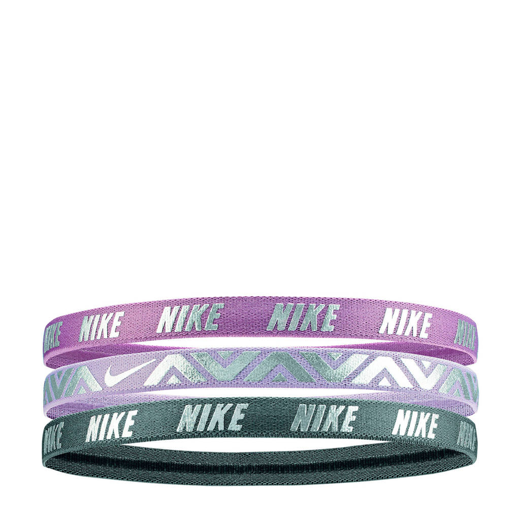 Nike   haarbandjes (set van 3), Paars/grijs