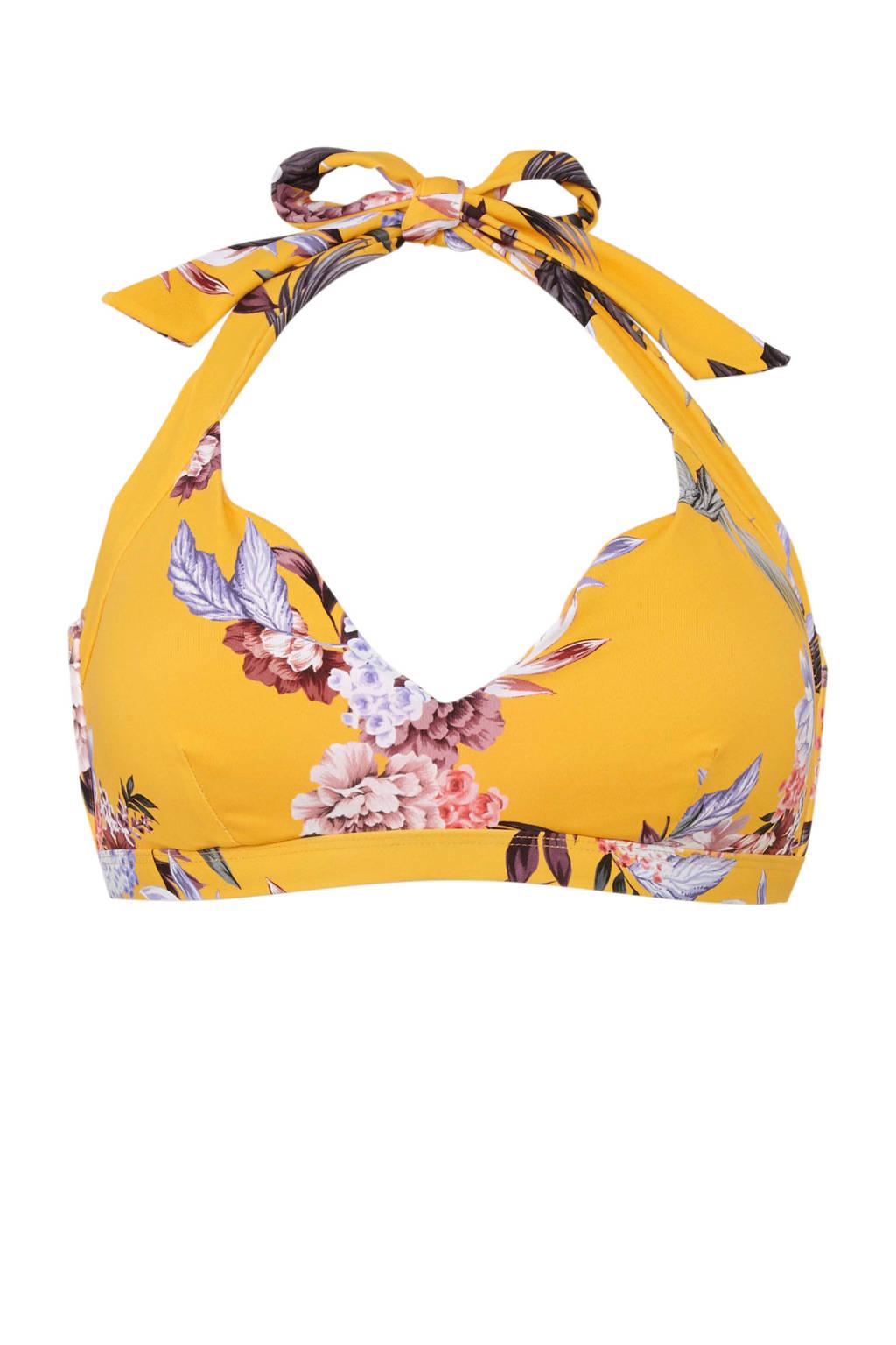 Baku Australia halter bikinitop Covent Garden met all over print geel, Geel/roze/paars