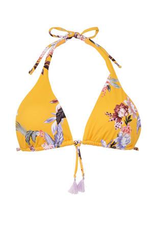 triangel bikinitop Covent Garden met all over print geel