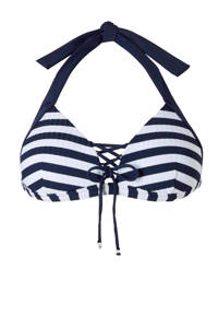 Baku Australia bikinitop met streepdessin marine, Marine/wit