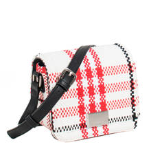 geblokte crossbody tas wit