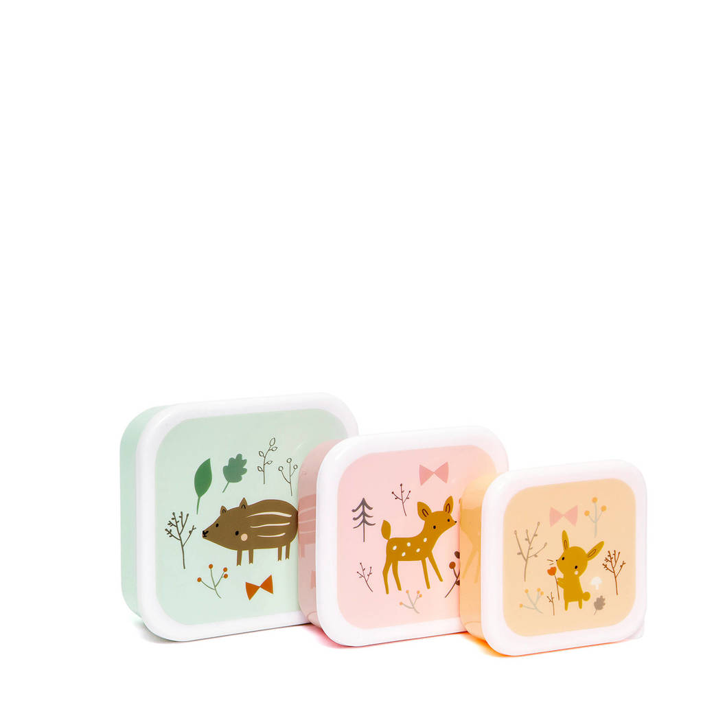 Petit Monkey lunchbox (set van 3), Roze/mint/oranje