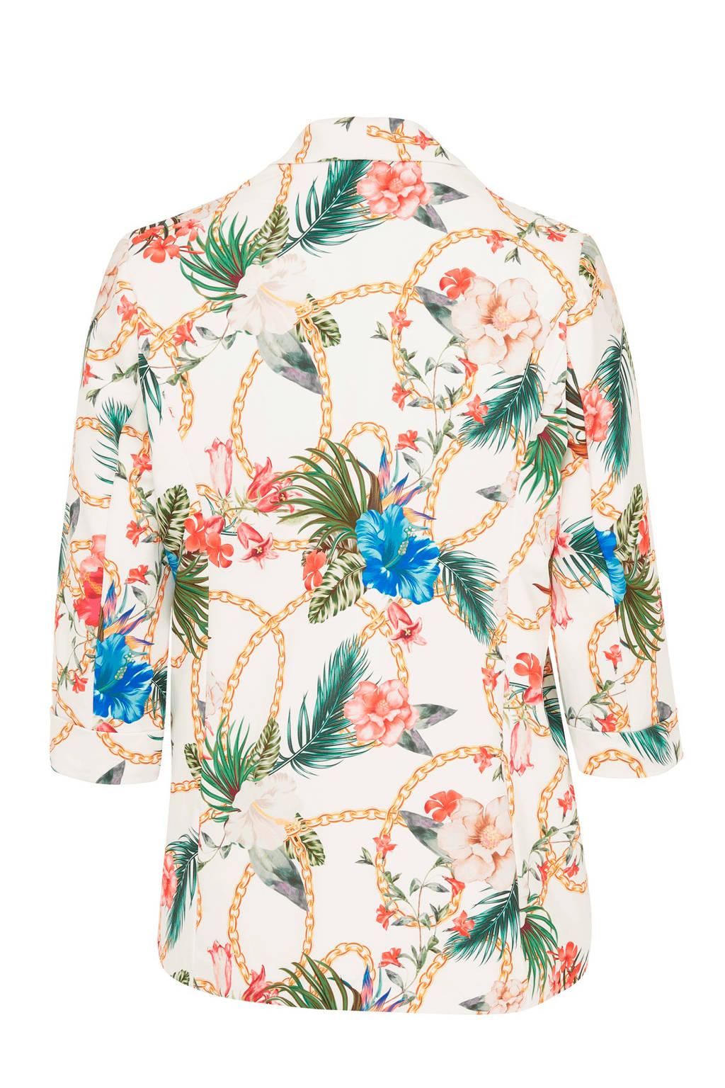 Belloya blazer met print, Ecru